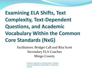 Examining ELA Shifts, Text Complexity, Text-Dependent Questions, and Academic Vocabulary Within the Common Core Standard