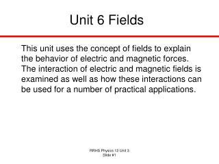 Unit 6 Fields