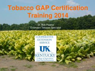 Tobacco GAP  Certification  Training 2014