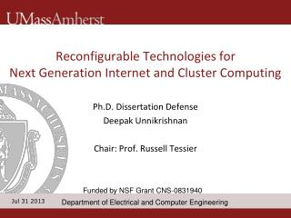 Reconfigurable Technologies for  Next Generation Internet and Cluster Computing