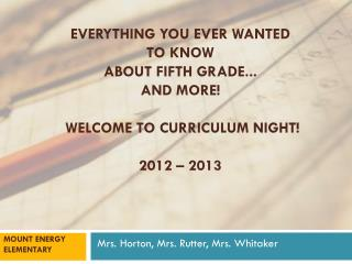 Everything You Ever Wanted to Know About Fifth Grade... And More! Welcome  to Curriculum Night! 2012 – 2013