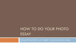How to do your photo essay