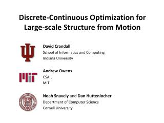 Discrete-Continuous Optimization for  Large-scale Structure from Motion