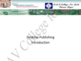 Desktop Publishing Introduction