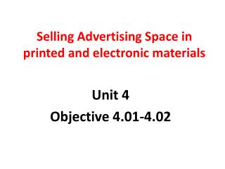 Selling Advertising Space in printed and electronic materials