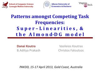 Patterns amongst Competing Task Frequencies:  S  u  p  e r  – L  i n e  a  r i t i e s  ,  & t h e    A  l m o n d -D G