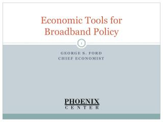 Economic Tools for  Broadband Policy