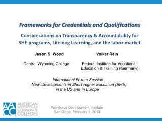 Frameworks for Credentials  and  Qualifications Considerations on Transparency & Accountability for SHE programs, Li