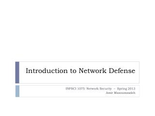 Introduction to Network Defense
