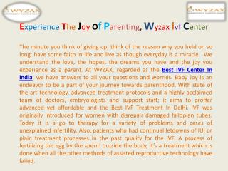 Experience The Joy Of Parenting, Wyzax ivf Center
