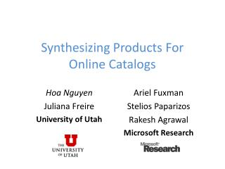 Synthesizing Products  For  Online Catalogs