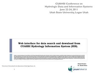 Web interface for data search and download from CUAHSI Hydrology Information System (HIS).