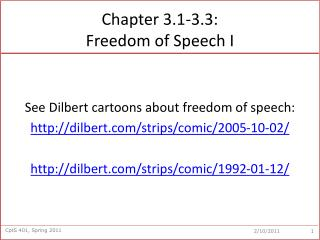 Chapter 3.1-3.3:  Freedom of Speech I
