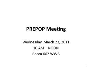 PREPOP Meeting