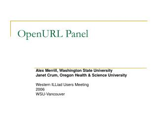OpenURL Panel