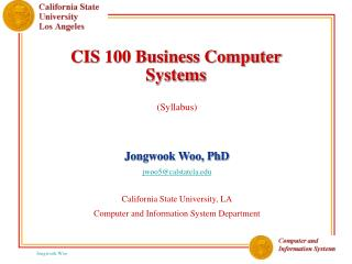 CIS 100 Business Computer Systems