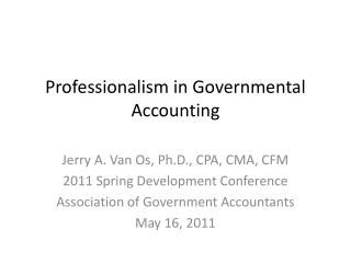 Professionalism in Governmental Accounting
