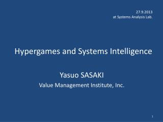 Hypergames  and Systems Intelligence