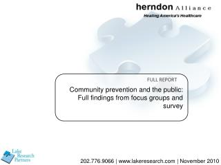Community prevention and the public: Full findings from focus groups and survey