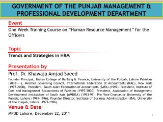 GOVERNMENT OF THE PUNJAB MANAGEMENT & PROFESSIONAL DEVELOPMENT DEPARTMENT
