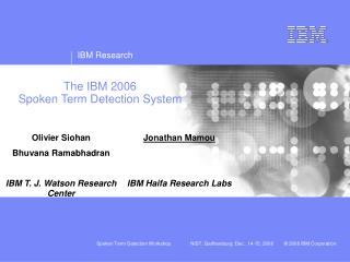 The IBM 2006  Spoken Term Detection System