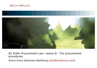 EU Public Procurement Law: Lesson 8 - The procurement procedures