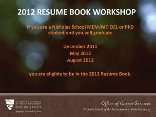2012 Resume Book Workshop