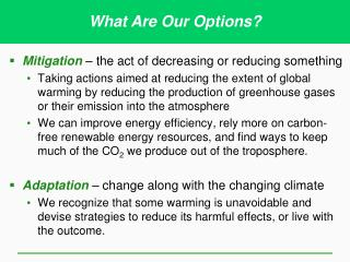 Mitigation  – the act of decreasing or reducing something