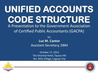 UNIFIED ACCOUNTS  CODE STRUCTURE