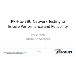 RRH-to-BBU  Network Testing to Ensure Performance and Reliability