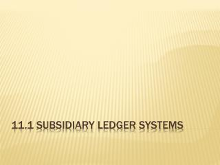 11.1 Subsidiary Ledger Systems