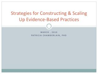 Strategies for Constructing & Scaling Up Evidence-Based Practices