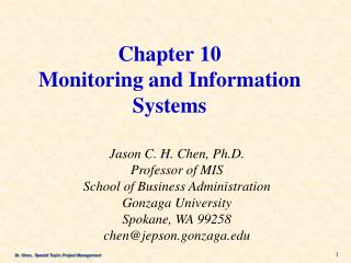 Chapter 10 Monitoring and Information Systems