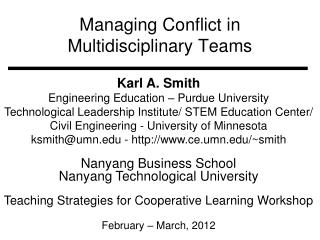 Managing Conflict in  Multidisciplinary Teams