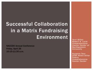 Successful Collaboration in a Matrix Fundraising Environment