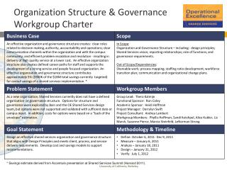Organization Structure & Governance Workgroup  Charter