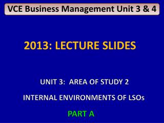 VCE Business Management Unit 3 & 4