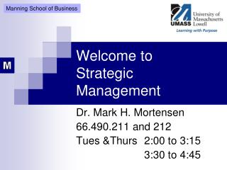 Welcome to Strategic Management