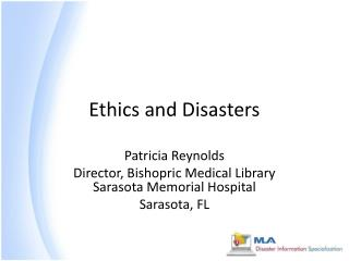 Ethics and Disasters