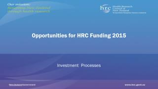 Opportunities for HRC Funding 2015