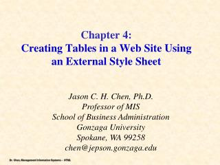 Chapter 4: Creating Tables in a Web Site Using an External Style Sheet