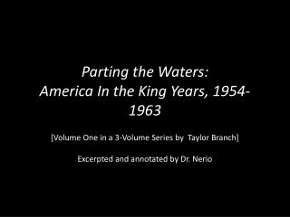 Parting the Waters: America In the King Years, 1954-1963