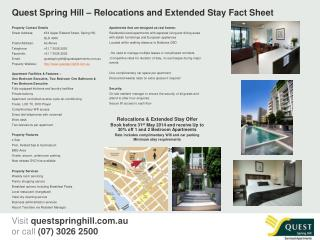 Quest Spring Hill – Relocations and Extended Stay Fact Sheet