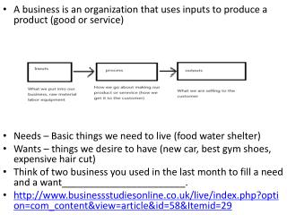 A business is an organization that uses inputs to produce a product (good or service)  A businesses tend to exist to fi