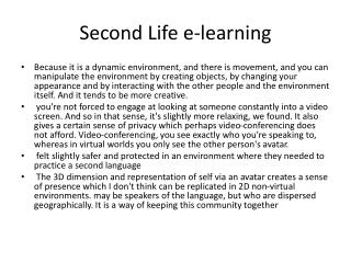 Second Life e-learning
