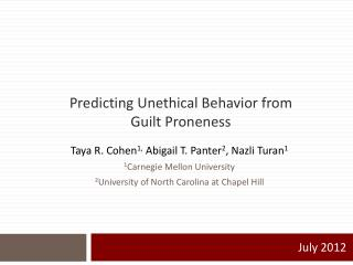 Predicting Unethical Behavior from Guilt Proneness