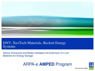 DNV,  NexTech  Materials, Beckett Energy Systems