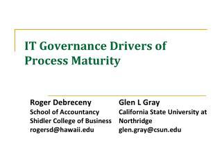 IT Governance Drivers of Process Maturity