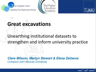 Great excavations  Unearthing institutional datasets to  strengthen and inform university practice Clare Milsom, Martyn