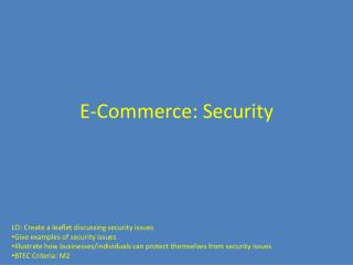 E-Commerce: Security